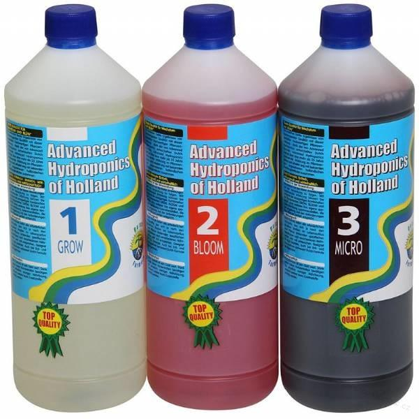 Advanced Hydroponics Dutch formula sada grow bloom micro 3x1L